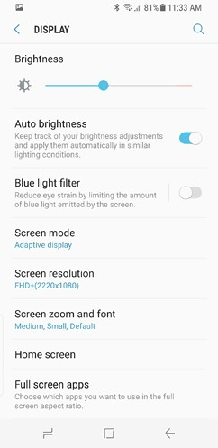 samsung galaxy s8 and s8 duos connections sound notifications and display settings advanced features 11 image