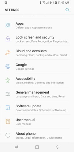 samsung galaxy s8 and s8 duos connections sound notifications and display settings advanced features 2 image