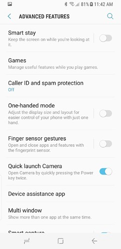 samsung galaxy s8 and s8 duos connections sound notifications and display settings advanced features 29 image