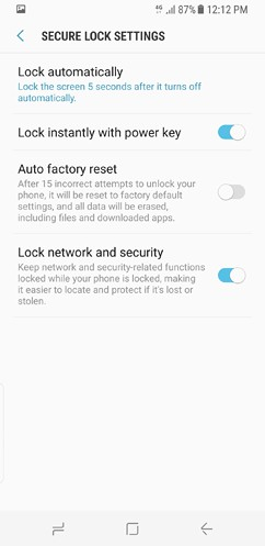 samsung galaxy s8 and s8 duos device maintenance apps lock screen and security fingerprint 19 image